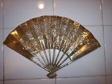 7 inch Vintage Brass Wall Fan Gold Dragon Scene