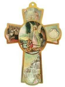 "8"" Guardian Angel Wooden Wall Cross Gift Favors Recuerdos Baptism Christening"