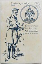 WWI postcard: Germany Soldier Comic Propaganda postcard Man in love Gay Int.