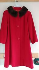 Vintage 100% Cashmere Red Coat w Mink Collar 1940's 1950's