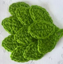 Foxy Flowers 10 Hand Crochet Applique Bright Green Leaves - 4cm x 3cm