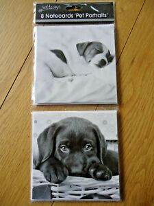 8 NOTECARDS - CUTE PUPPIES DOGS - blank : thank you - any message - notelets