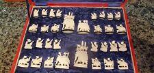 Antique Elephant Themed Bone Chess Set w/Original Box, 32 Perfect Original pcs.