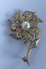 Vintage damascene flower brooch