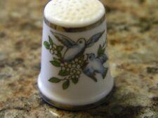 Vintage Thimble-Royal Worcester-England-Porcelain-Birds/Silver Trim = 12253C