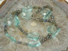 Sterling Silver Large OPALINE Blue Topaz CRYSTAL GLASS Statement Necklace