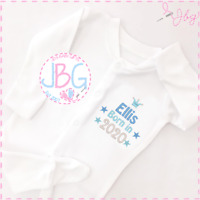 Personalised Baby Boys 'Born in 2020' Sleepsuit - Embroidered Baby Grow - Gift