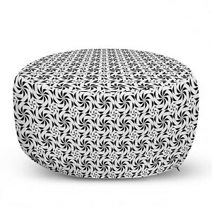 Ambesonne Black and White Ottoman Pouf Decor Soft Foot Rest & Removable Cover