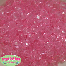 12mm Clear Pink Facet Acrylic Bubblegum Beads Lot 40 pc.chunky gumball