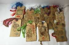 Reduced! Handmade Christmas Gift Tags Lot (12) Primitive Stamped Colorful Yarn