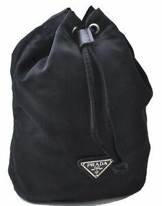 Authentic PRADA Nylon Pouch Black D4589