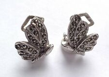 VINTAGE SILVER TONE & MARCASITE BUTTERFLY CLIP ON EARRINGS