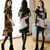 Women Floral Dresses Long Sleeve Knitted Loose Dress Knit Autumn Sundress M TRF