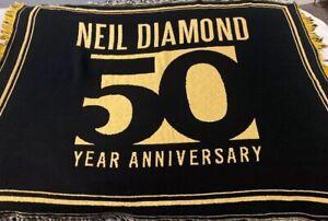 """Neil Diamond 50th Anniversary Year Tour Throw Blanket 46"""" X 38"""" Black & Gold"""