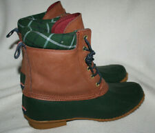 Women Tommy Hilfiger Russel Green Brown Plaid Duck Rain Boot Size 10 M