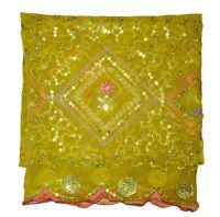 Vintage Indian Wedding Dupatta Sequins Floral Hand Beaded Georgette Veil Stole L