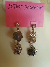 Betsey Johnson gold tone owl bead drop earrings