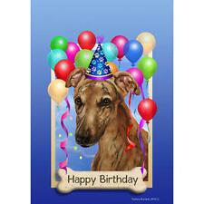 Greyhound Red Happy Birthday Flag