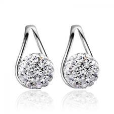 Jewelry Ruyi Earrings Crystal Ball Ear Stud Silver Plated