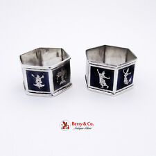 Pair Of Vintage Siam Dancer Niello Napkin Rings Sterling Silver 1940