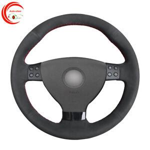 Black Suede Car Steering Wheel Covers Wrap for Volkswagen EOS MK5 2005-2008