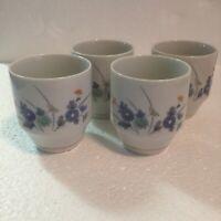 4 Vintage OTAGIRI OMC Japan Sake Saki Tea Porcelain Cups Blue Chrysanthemums