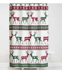 Bath Lodge Cabin Nordic Xmas Winter Reindeer Snowflake Shower Curtain & Hook Set