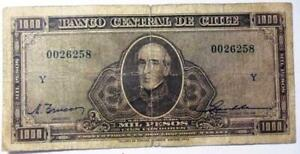 CHILE BANKNOTE 1000 Pesos, Pick 116  F 1947-1959 (Trucco-Maschke)