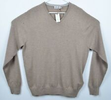 Peter Millar Men's 2XL Crown 100% Cashmere V-Neck Beige Pullover Sweater HOLES
