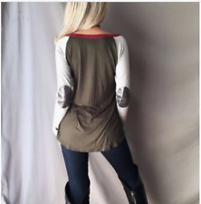 Women's Olive Color Block Sequin Elbow Patch Long Sleeve Tunic Knit Top Shirt L