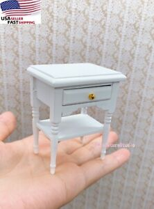 Miniature Nightstand 1/12 Dollhouse End Table Bedroom Beside Cabinet Furniture