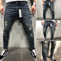 Men's Casual Ripped Jeans Straight Slim Fit Denim Pants Super Stretch Trousers