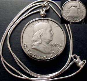 """1962 US Silver Ben Franklin Liberty Bell Pendant on a 22"""" Italy Silver Necklace."""