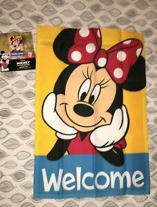 "NWT DISNEY Minnie Mouse Garden Flag 12 x 18"" FLAG welcome"