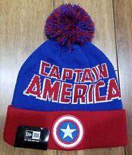 CAPTAIN AMERICA - Blue/Red  Beanie Hat - Red/Blue - Marvel - New Era -