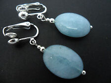 Handmade Silver Plated Jade Clip - On Costume Earrings