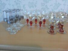17 Vintage Sherry Glasses 6 Silver Rimmed 6 Gold Rimmed & Red Stem 5 Red Stemmed