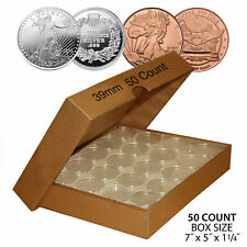 50 SILVER or COPPER ROUNDS Direct-Fit 39mm Coin Capsule Holder (QTY: 50) w/ BOX