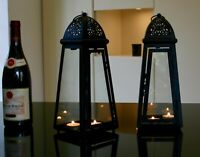 Pair of 2 jet Black slanted Lanterns, t lights included indoor/outdoor weddings