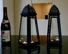 Pair of 2 jet Black slanted Lanterns, t lights included indoor/outdoor weddings