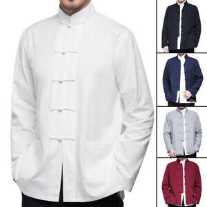Mens Traditional Chinese Tang Suit Jacket Coat Martial Arts Wingchun Uniform Hot