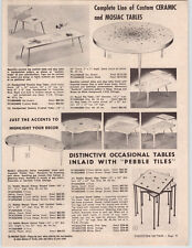1961 PAPER AD Mid Century Modern Furniture Tile Ceramic Mosiac Pebble Tables