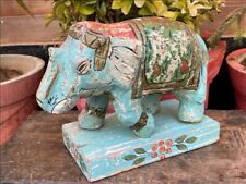 Vintage Paper Mache Hand Crafted Painted Decorative Elephant Figure Wood Base