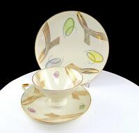 "GERMAN PORCELAIN 3 PC GOLD FLOURISH & MULTI COLORED CURLY Q's 2 1/2"" TRIO SET"