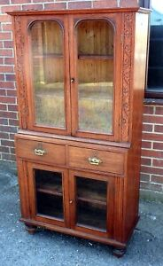 19th century antique Indian colonial solid teak campaign bookcase cabinet + keys