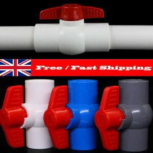 UK Plastic Slip Ends Ball Valve 20-40mm 2Way Water Flow Controller Valve Switch