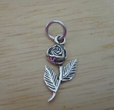Sterling Silver Small 20x10mm Flower Long Stem Rose Charm
