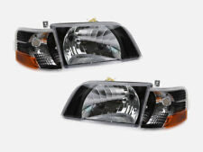 1998-2017 VOLVO VN VNL VNM Daycab Headlights Clear Lens Corner Lamps SET - BLACK
