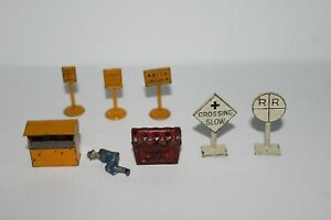 Tootsie Toy, Dinky Toys & unmarked cast iron miniatures lot, railroad sign etc