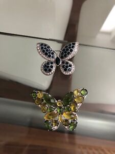 Lot of 2 Butterfly Crystal Brooches Retail $150